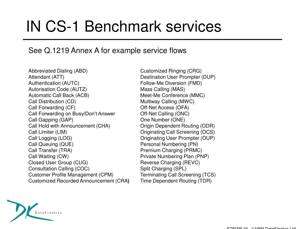 IN CS-1 Benchmark services