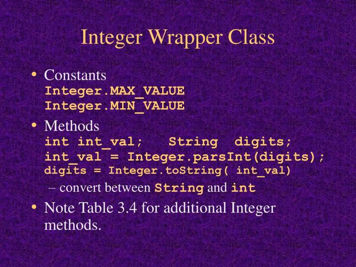 Integer Wrapper Class
