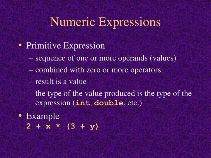 Numeric Expressions