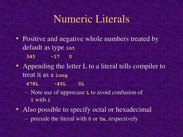 Numeric Literals