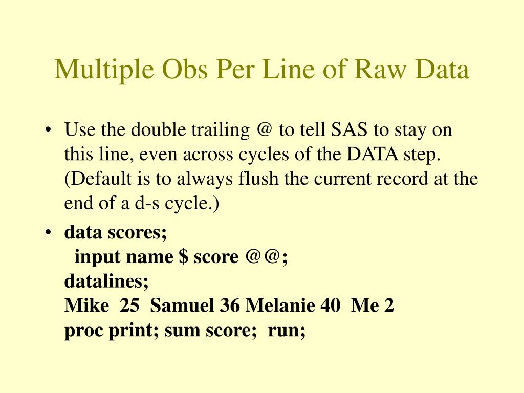Multiple Obs Per Line of Raw Data
