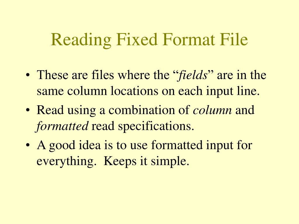 Reading Fixed Format File