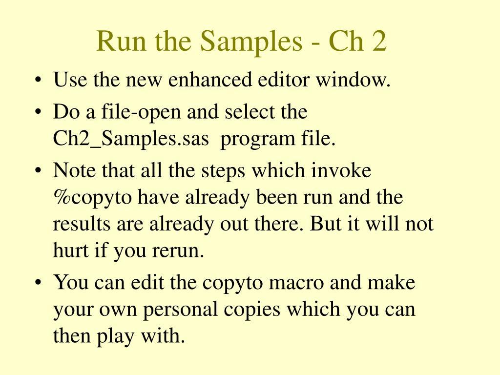 Run the Samples - Ch 2