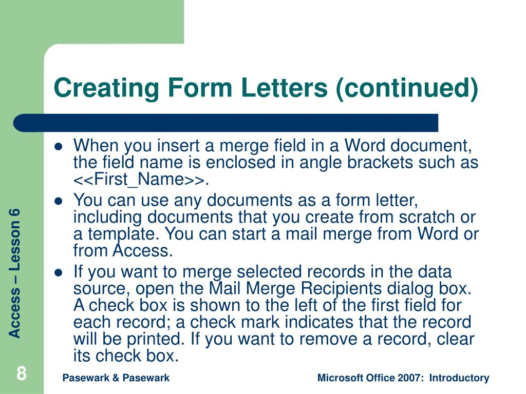 Creating Form Letters (continued)