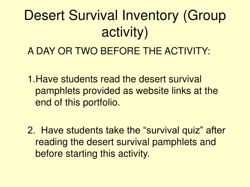 Desert Survival Inventory (Group activity)