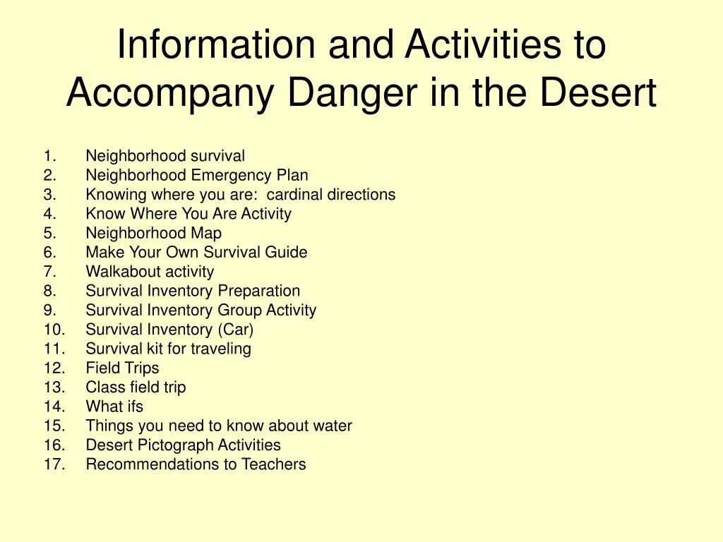 Information and Activities to Accompany Danger in the Desert