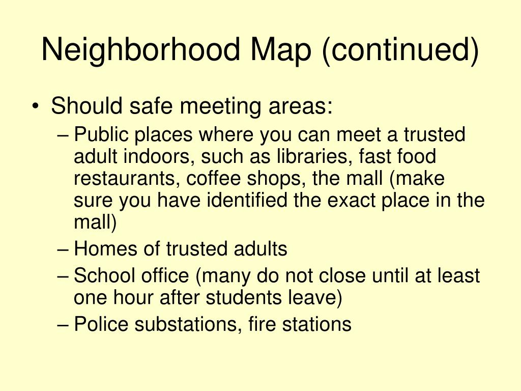 Neighborhood Map (continued)