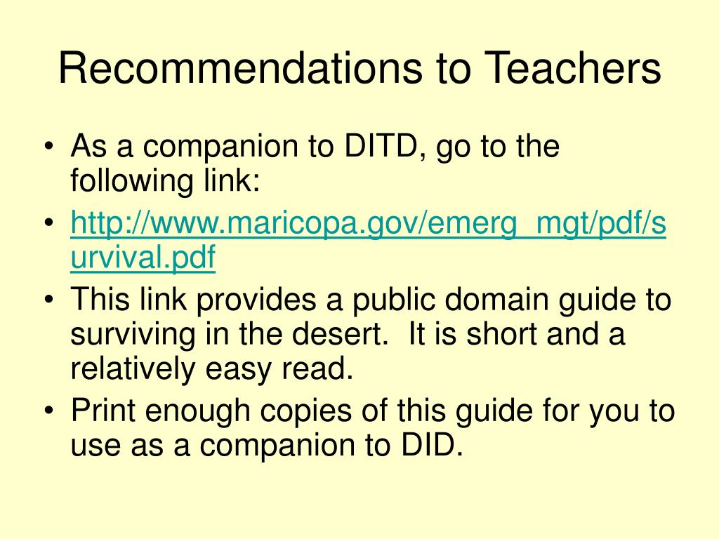 Recommendations to Teachers