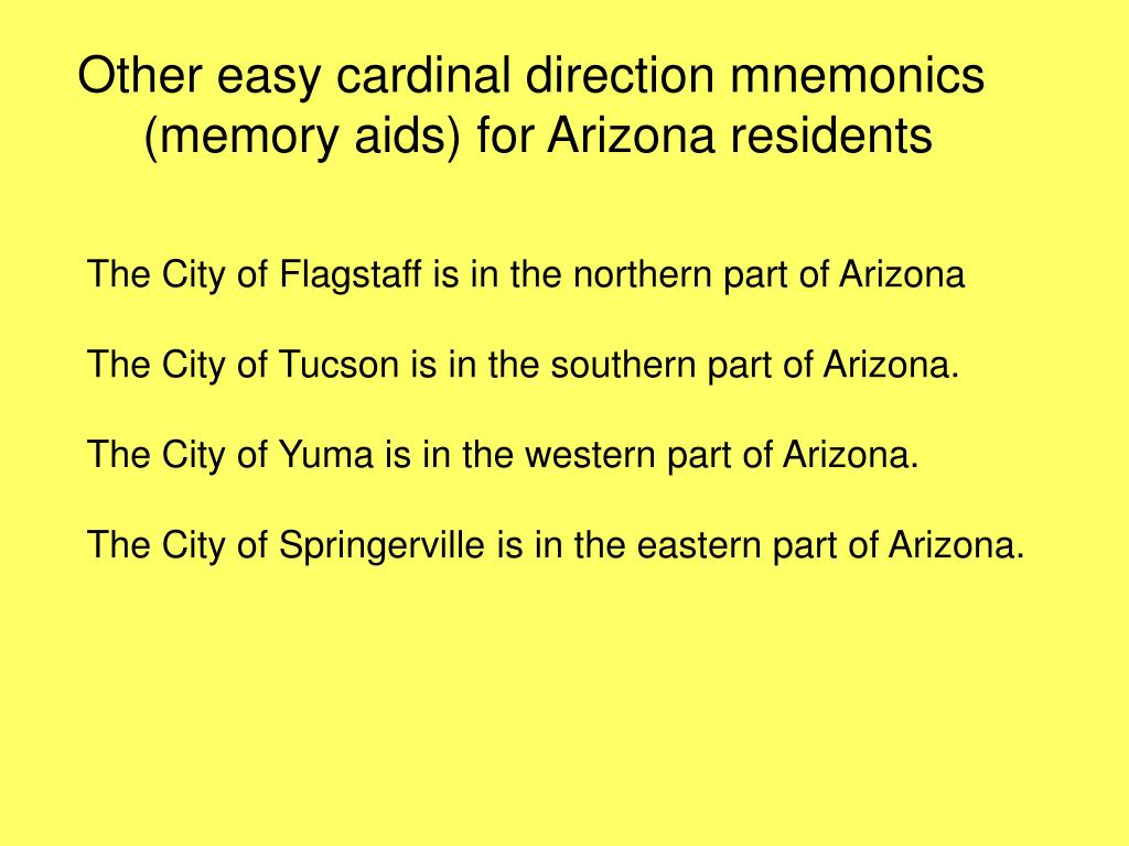 Other easy cardinal direction mnemonics