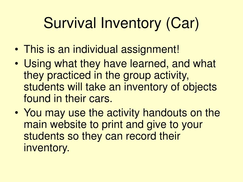 Survival Inventory (Car)