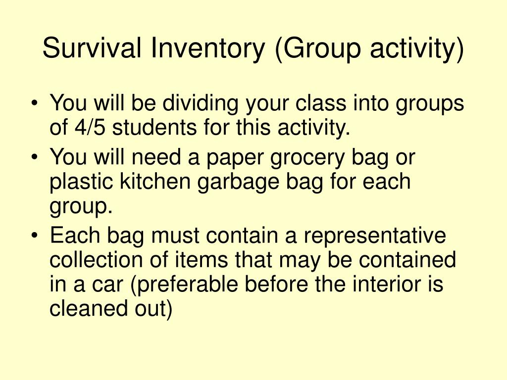 Survival Inventory (Group activity)