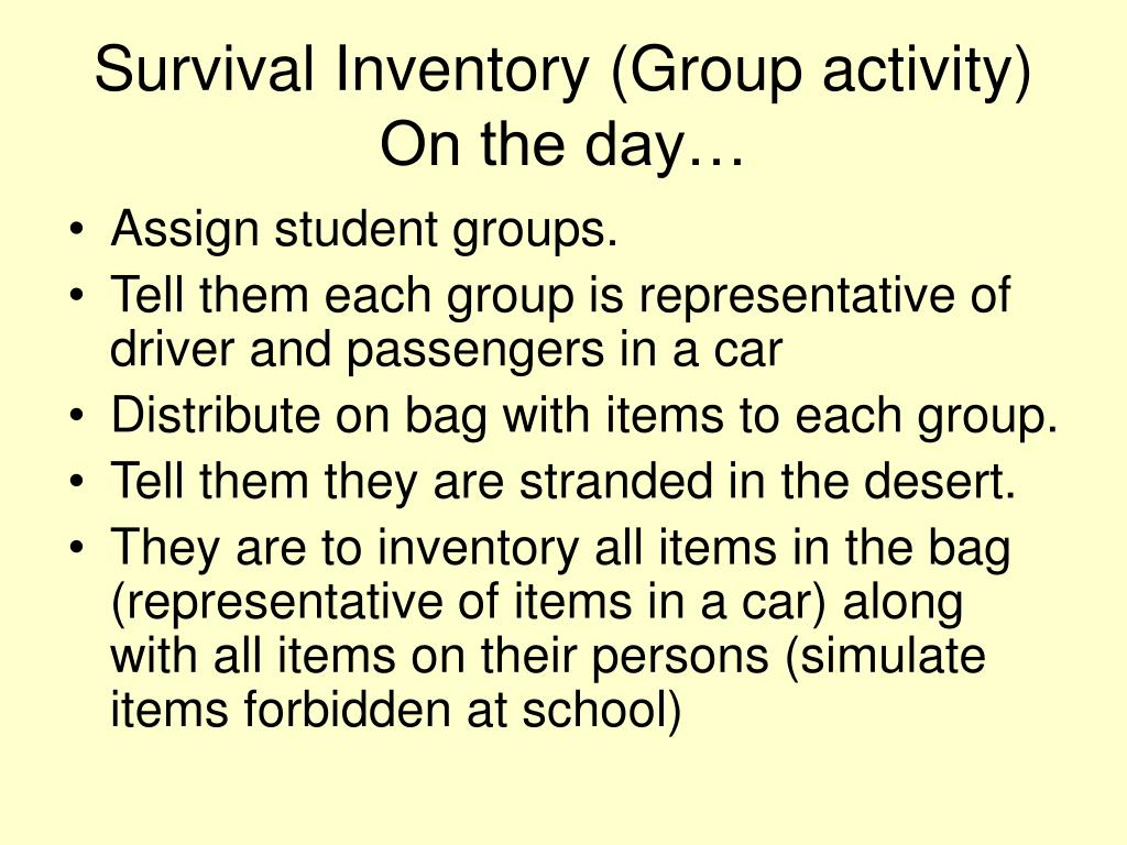 Survival Inventory (Group activity) On the day…