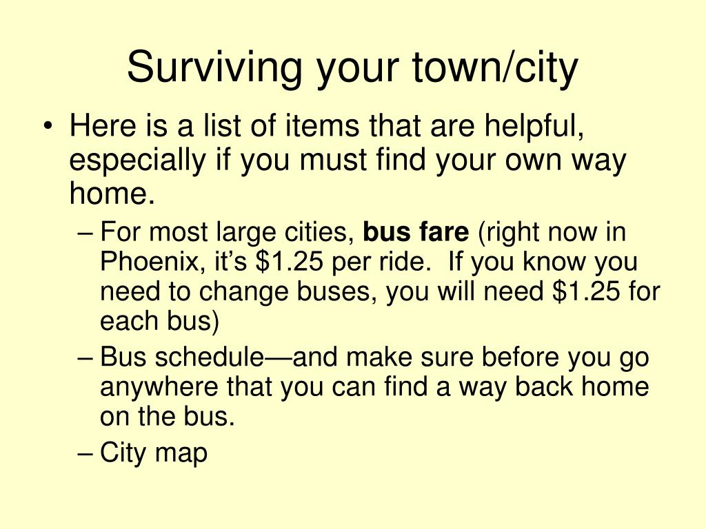 Surviving your town/city