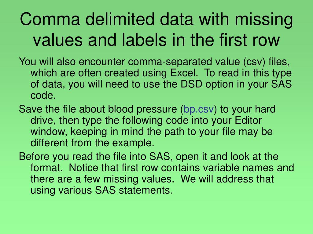 Comma delimited data with missing values and labels in the first row