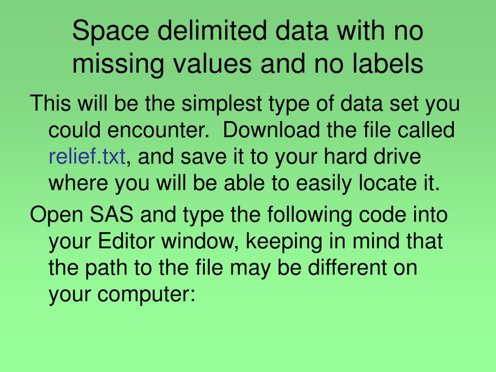 Space delimited data with no missing values and no labels
