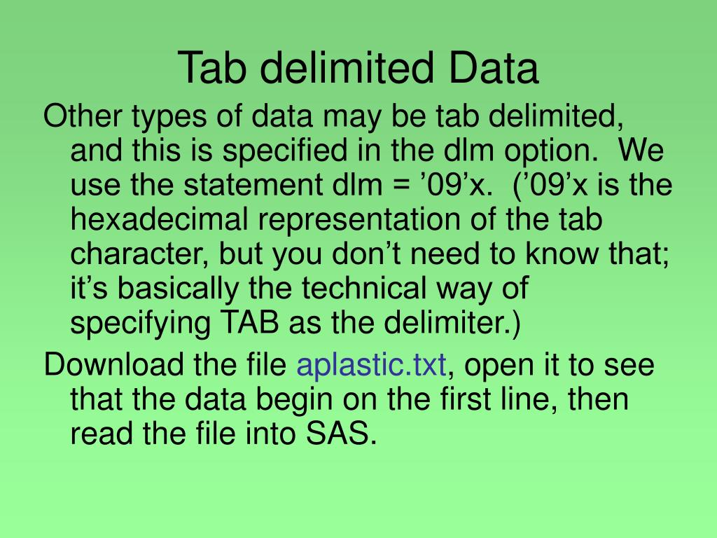Tab delimited Data