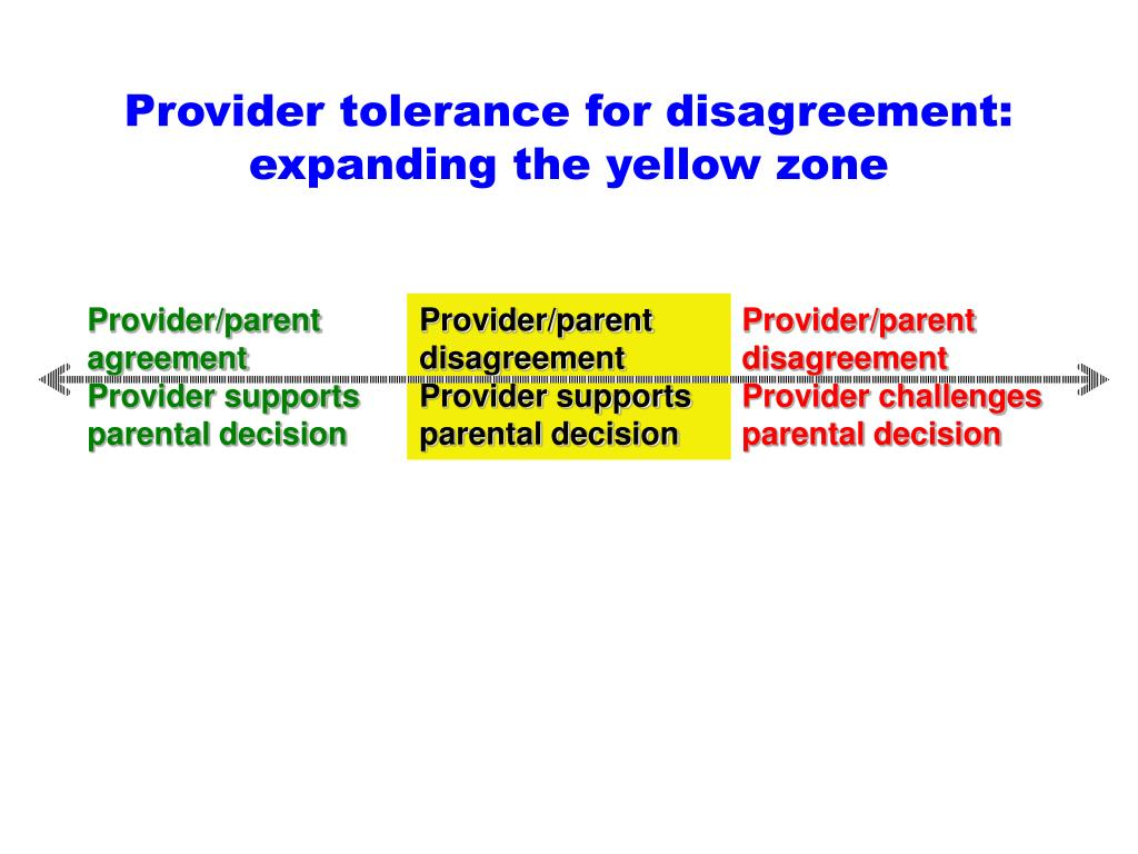 Provider tolerance for disagreement: expanding the yellow zone