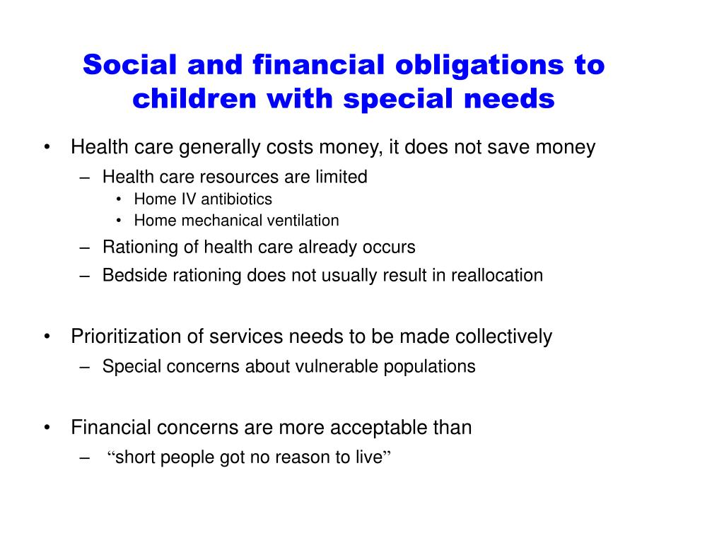 Social and financial obligations to children with special needs