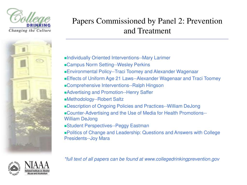 Papers Commissioned by Panel 2: Prevention and Treatment