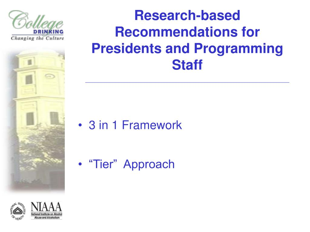 Research-based Recommendations for Presidents and Programming Staff