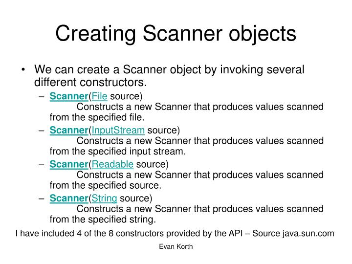 Creating Scanner objects