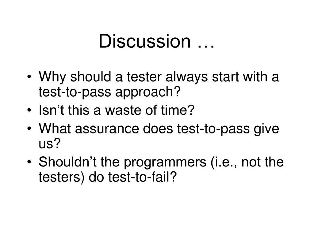 Discussion …