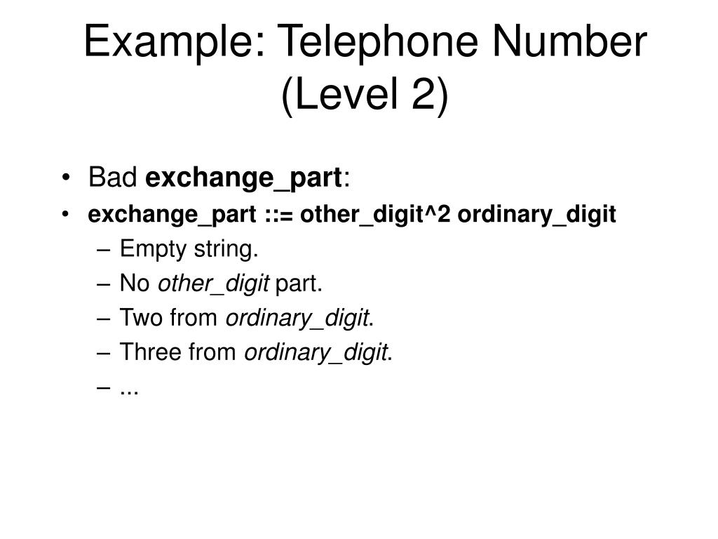 Example: Telephone Number