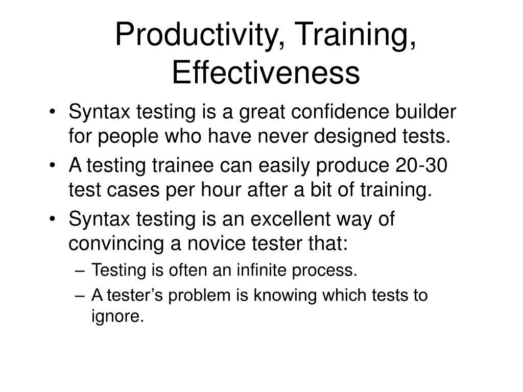Productivity, Training, Effectiveness