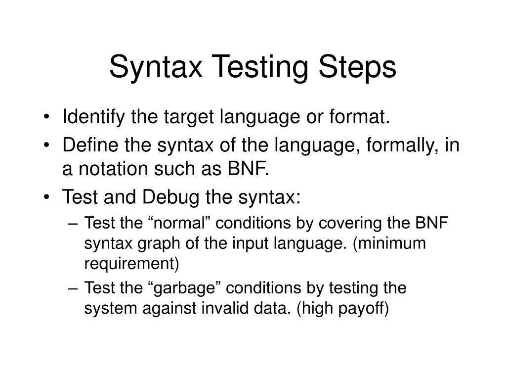 Syntax Testing Steps