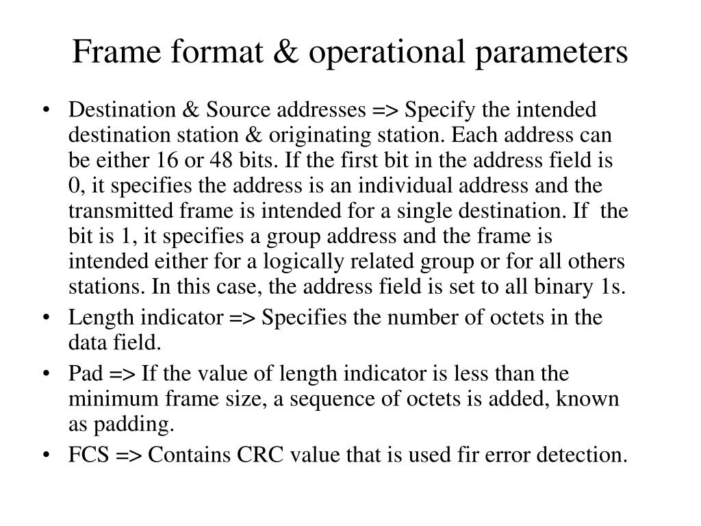 Frame format & operational parameters