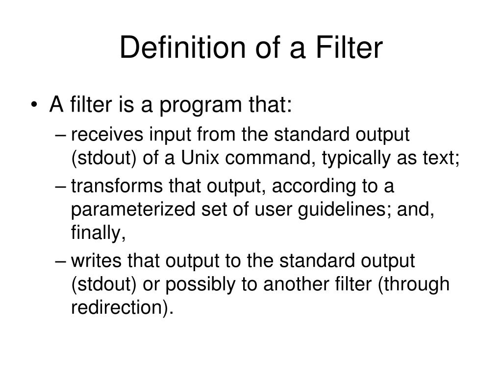 Definition of a Filter