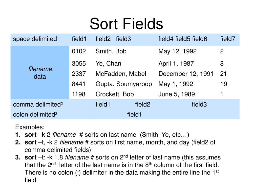 Sort Fields