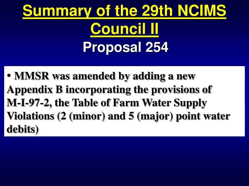 Summary of the 29th NCIMS