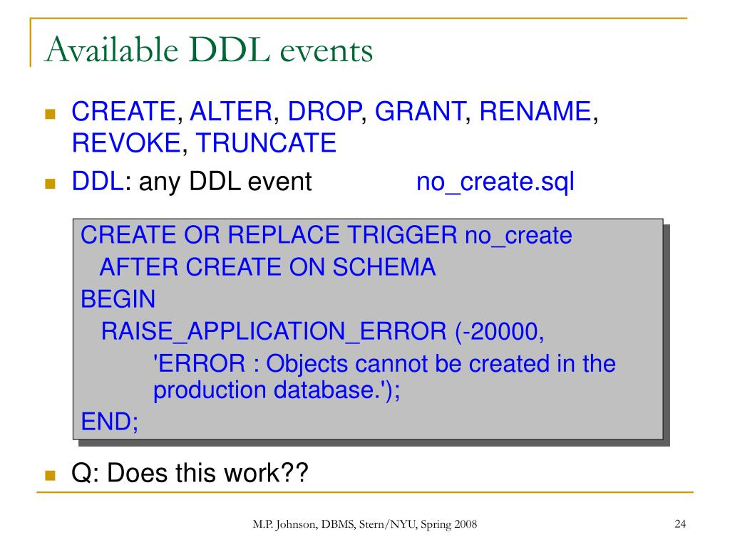 Available DDL events