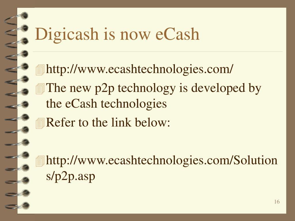 Digicash is now eCash