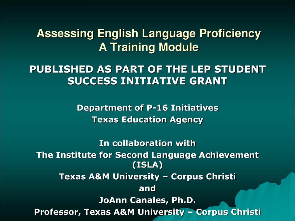 Assessing English Language Proficiency