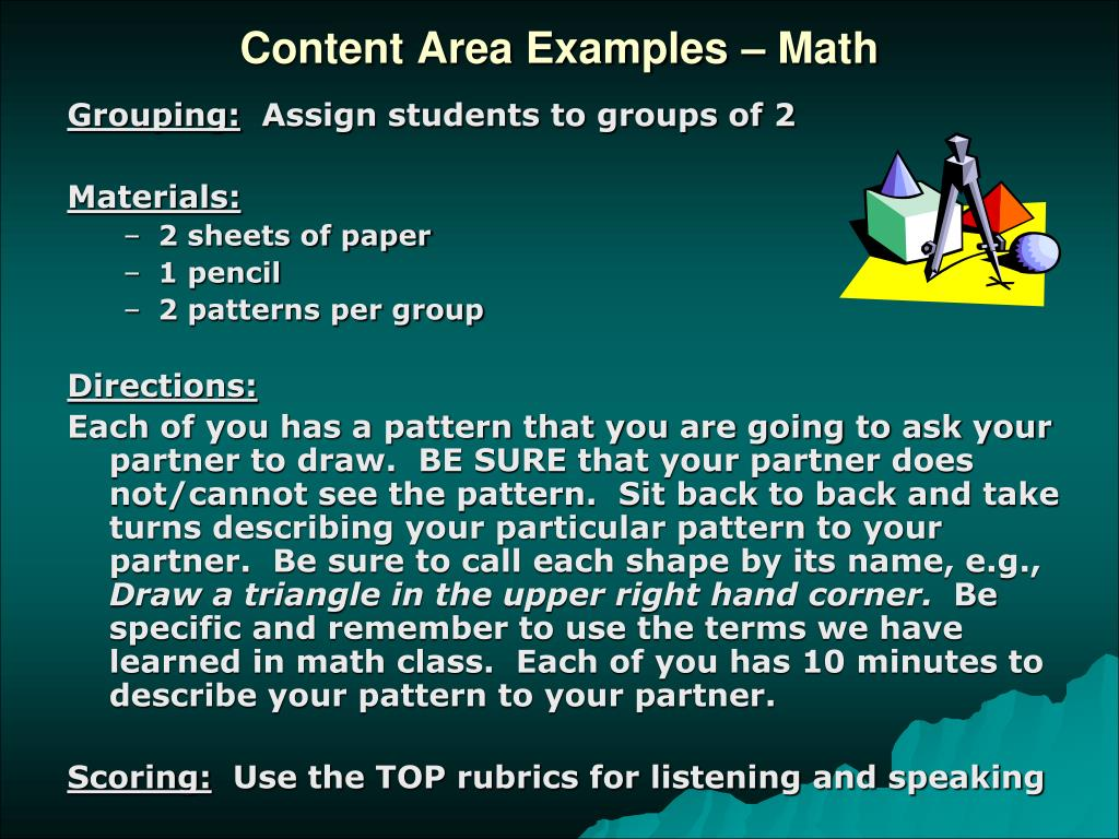 Content Area Examples – Math
