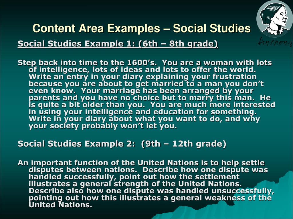 Content Area Examples – Social Studies