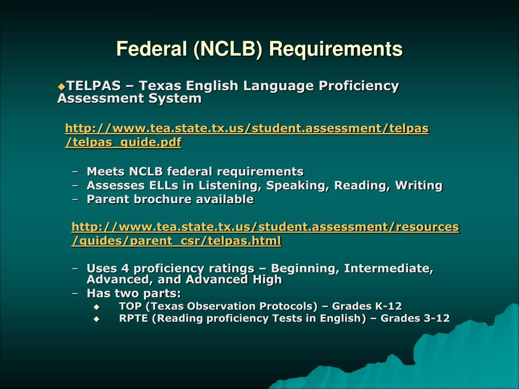 Federal (NCLB) Requirements