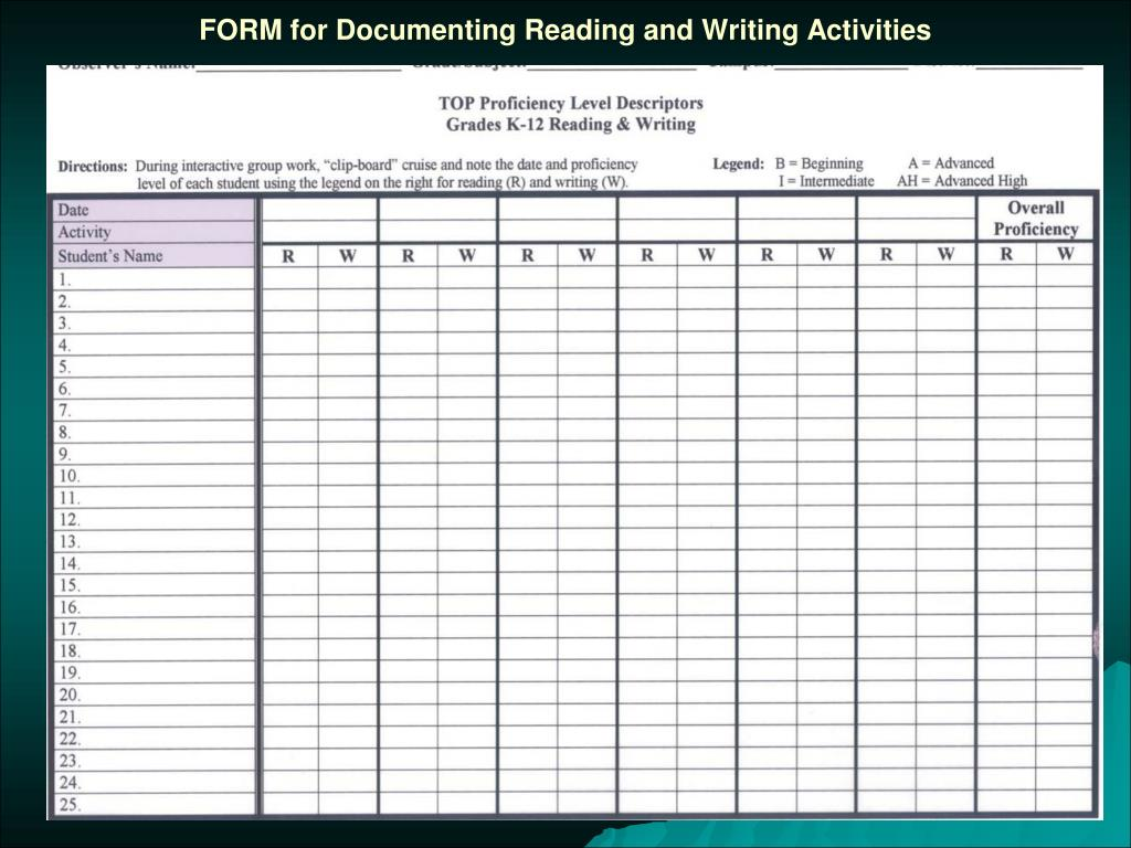 FORM for Documenting Reading and Writing Activities