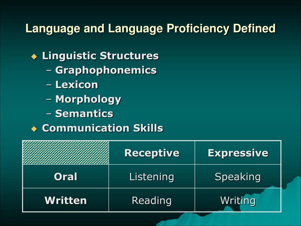Language and Language Proficiency Defined