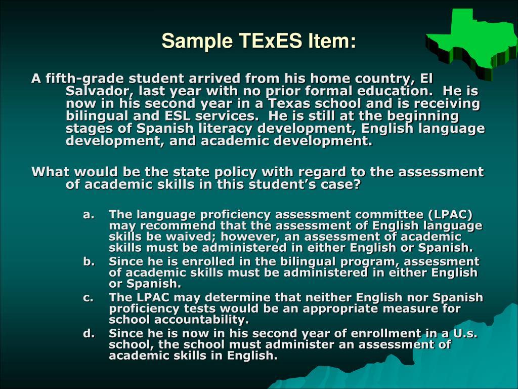 Sample TExES Item: