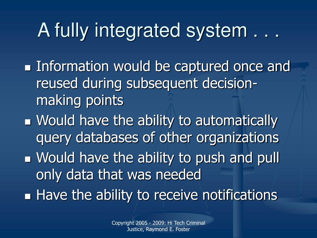 A fully integrated system . . .