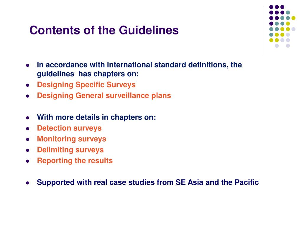 Contents of the Guidelines