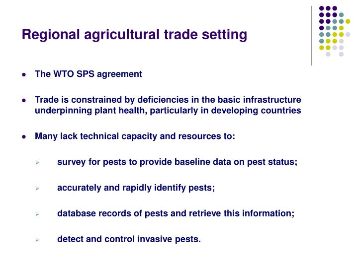 Regional agricultural trade setting
