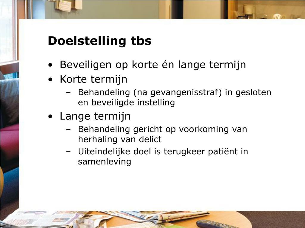 Doelstelling tbs