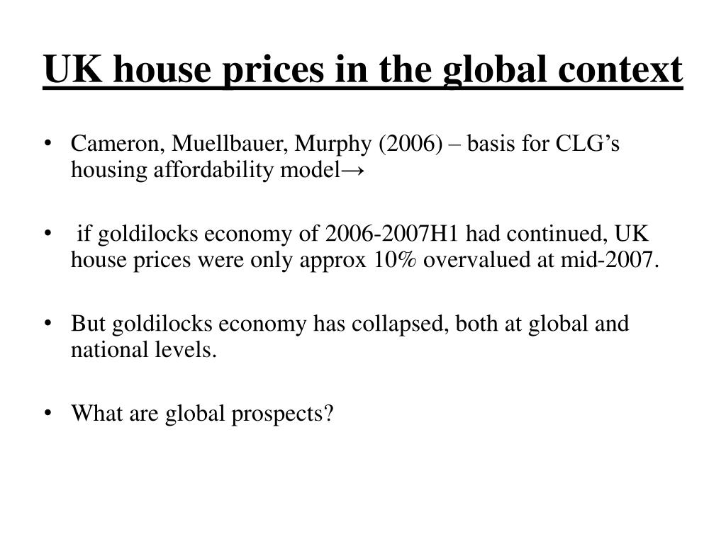 UK house prices in the global context
