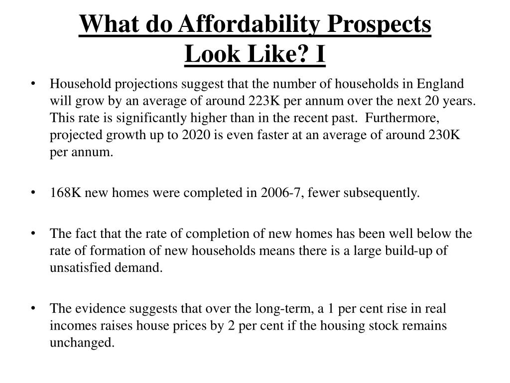 What do Affordability Prospects