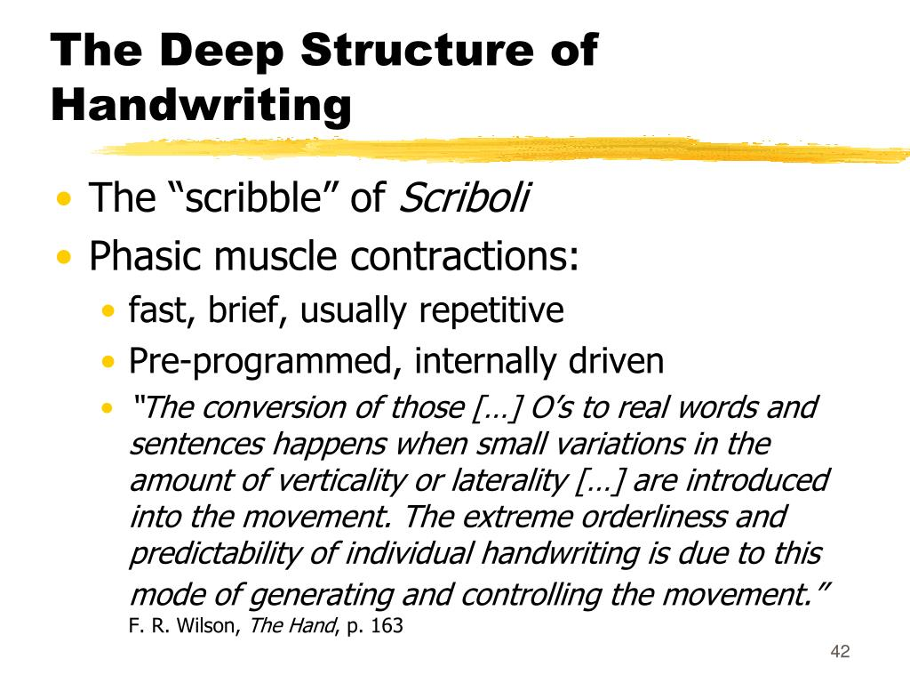 The Deep Structure of Handwriting
