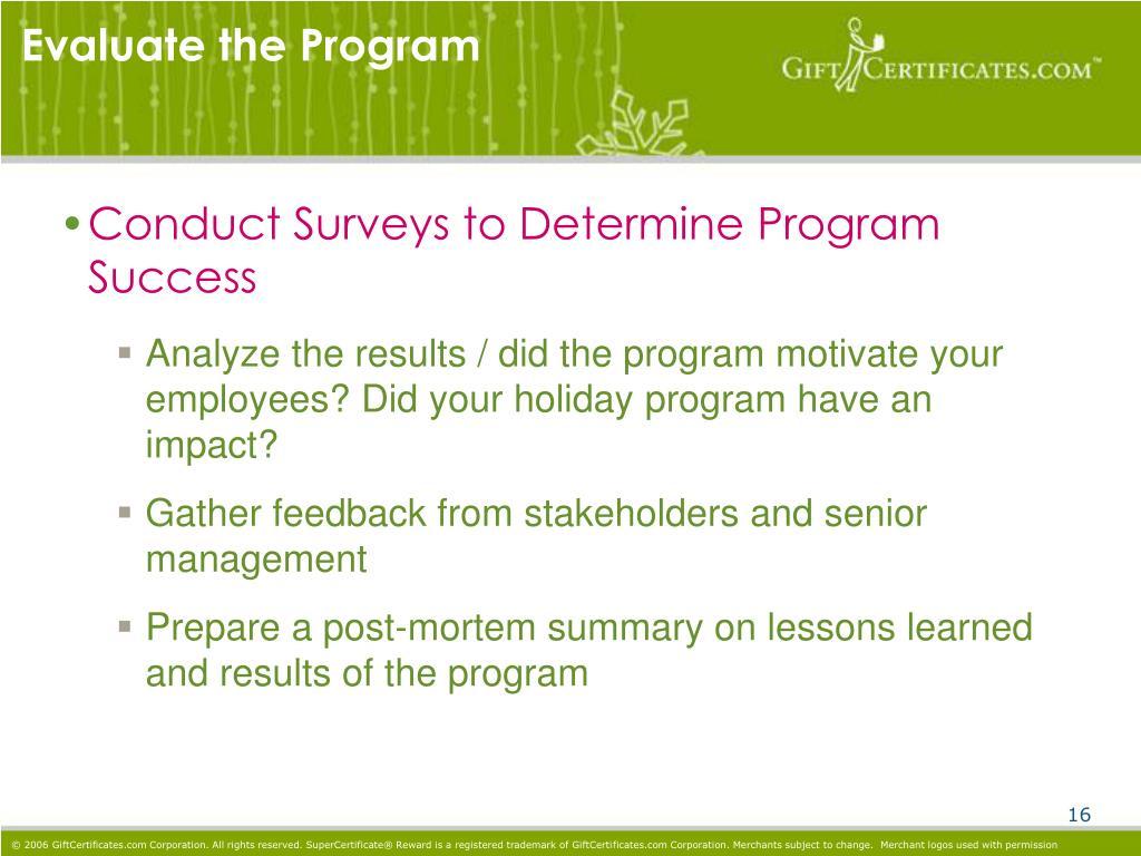 Evaluate the Program